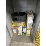 (LOT) SHOP CABINET WITH MISC WELDING WIRE