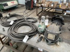 (LOT) (2) 3M WELDING RESPIRATOR MASKS WITH PUMP, AND PNEUMATIC AIR HOSES