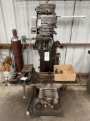 """(1) Bridgeport Mill- 1 hp, 48"""" t slot table, 80-2720 rpm, with 6"""" vise and r-8 collets s/n- 122580"""