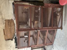 shop cabinet with misc welding parts, (1) tool cage