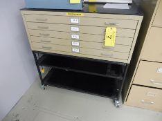 SAFECO 5-Drawer Blueprint Cabinet on Rolling Cart
