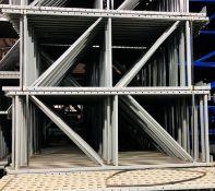 """15 BAYS OF KEYSTONE STYLE PALLET RACKS - 5 BAYS X 3 LINES X 8'H X 36""""D X 96""""W"""