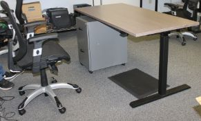 HEIGHT ADJUSTABLE OFFICE DESK WITH MOVABLE 2-DRAWER FILE CABINET & CHAIR