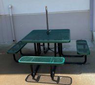 SQUARE PICNIC TABLE WITH UMBRELLA