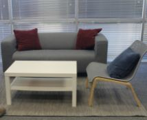 SOFA LOVESEAT WITH 2 CHAIRS, COFFEE TABLE & AREA RUG