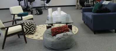 CONFERENCE SETUP - LOVE SEAT WITH GLASS TABLE, 2 SIDE CHAIR, 2 THROW PILLOW & AREA RUG
