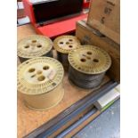 Group of wire spools, various sizes, ten spools total