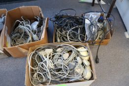 Group of computer wire, mouses and telephones
