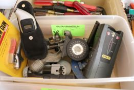 """Group: pipe cutting vise, surface levels, stud finders, and 1/4"""" air blow gun nozzle"""