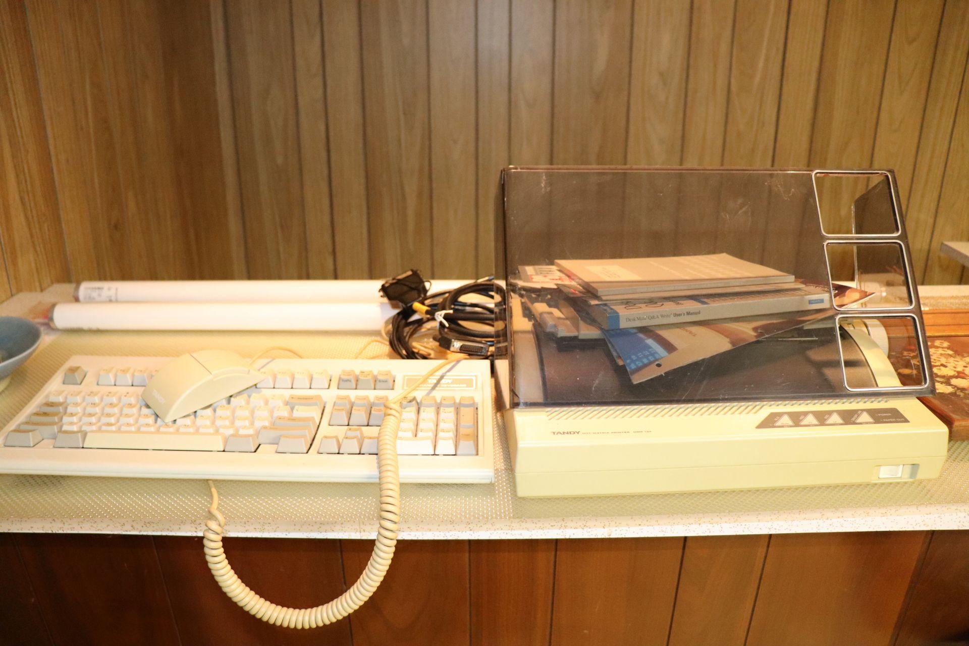 Tandy computer, 1000RL, with monitor, hard drive, keyboard, mouse, Tandy Dot Matrix printer model DM - Image 2 of 2