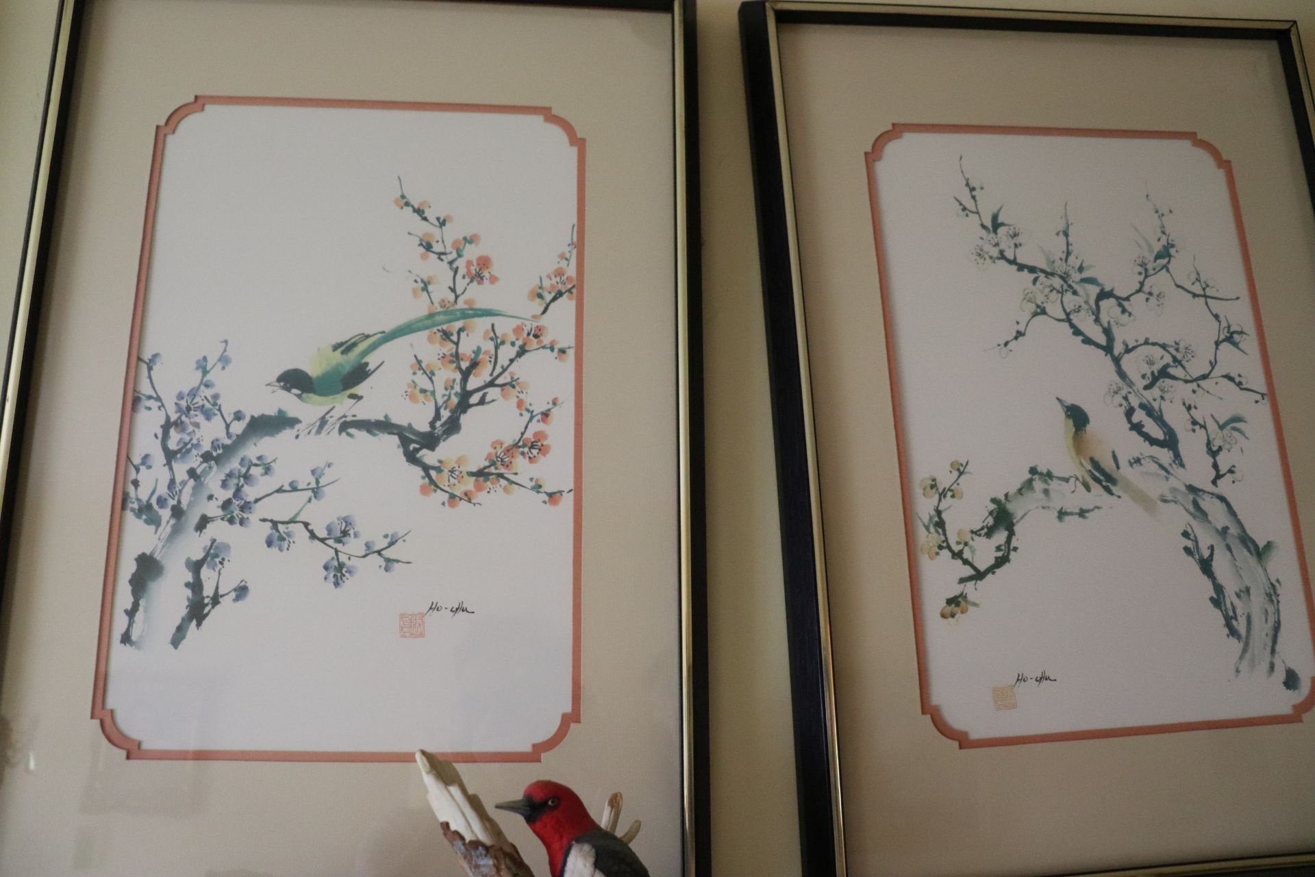 Set of four Asian color screenprints on paper depicting birds and foliage, all matted and framed, ap - Image 4 of 5