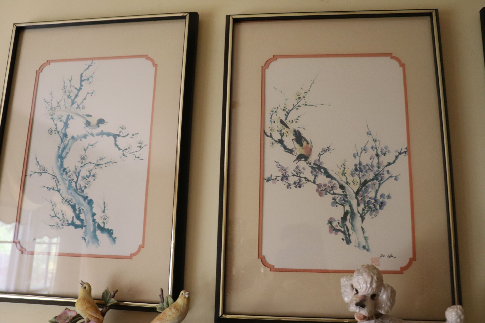 Set of four Asian color screenprints on paper depicting birds and foliage, all matted and framed, ap - Image 3 of 5
