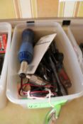 Group of drill bits, screwdrivers, and tap and die