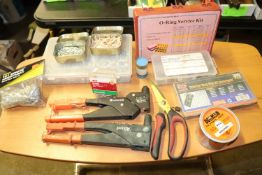 Allied and Arrow rivet gun, rivets, snap ring kit, O-ring service kit and other miscellaneous
