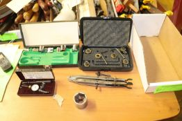 Sockets, 19063 clamp tool, and Craftsman gauge 4025 dual test indicator