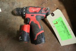 Milwaukee drill driver, M12 lithium with two batteries, no charger