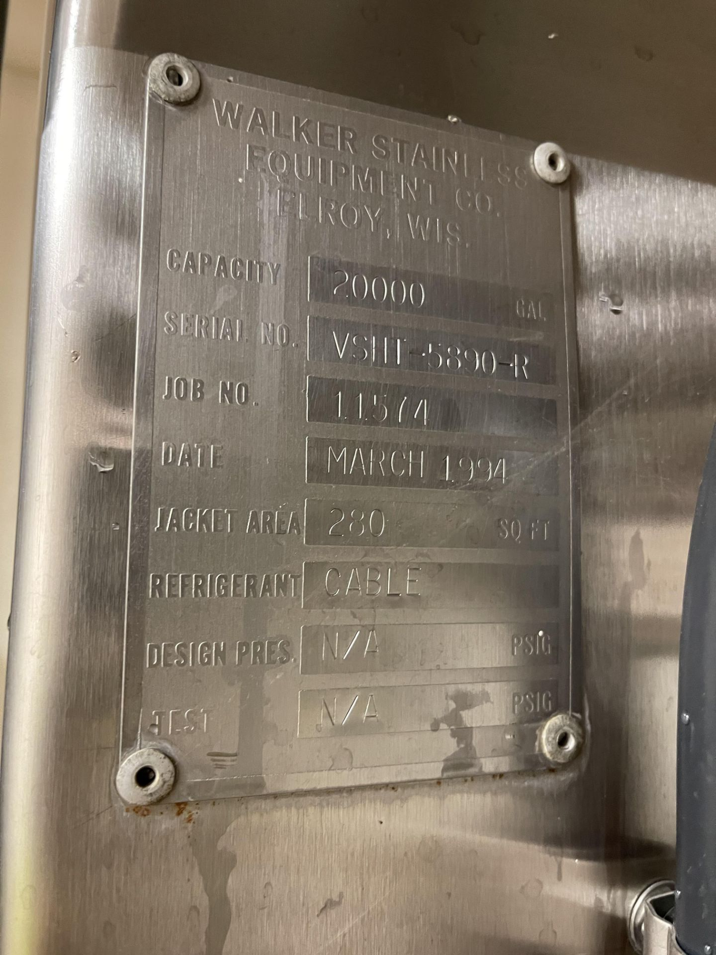 Walker 20,000 Gallon Stainless Steel Jacketed Silo - Image 5 of 5