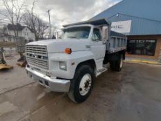(1) 1988 Ford F800 Diesel Dump Truck, 130882 Miles, VIN #1FDPK84A3JVA13383, 5 Speed Manual