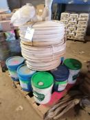 (1) Pallet of 9 Buckets of Concrete Sealing & 3 Rolls of PVC Waterstop. Located in Des Moines, IA.