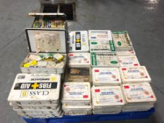 (1) Pallet with 65 First Aid Kits. Located in Mt. Pleasant, IA.