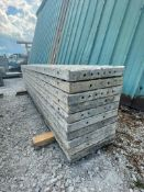 """(10) 18"""" x 9' TUF-N-LITE Textured Brick Aluminum Concrete Forms 6-12 Hole Pattern. Located in Ter"""