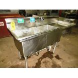 "Stainless Steel Sink, 28"" W X 6' L, (2) bays, 13"" deep, 24"" sideboard, space for faucet with sprayer"