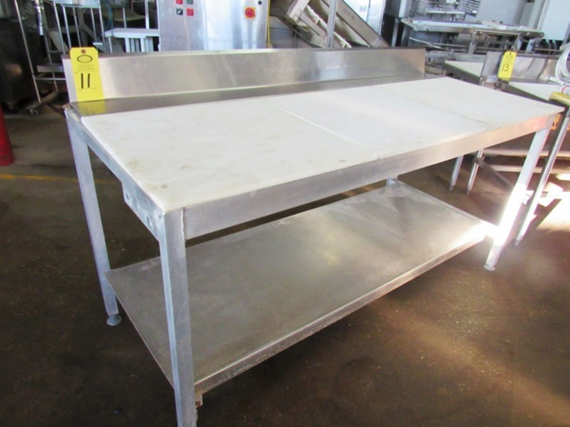 "Aluminum Table, 30"" W X 6' L X 34"" T, with poly tops, 6"" backsplash"