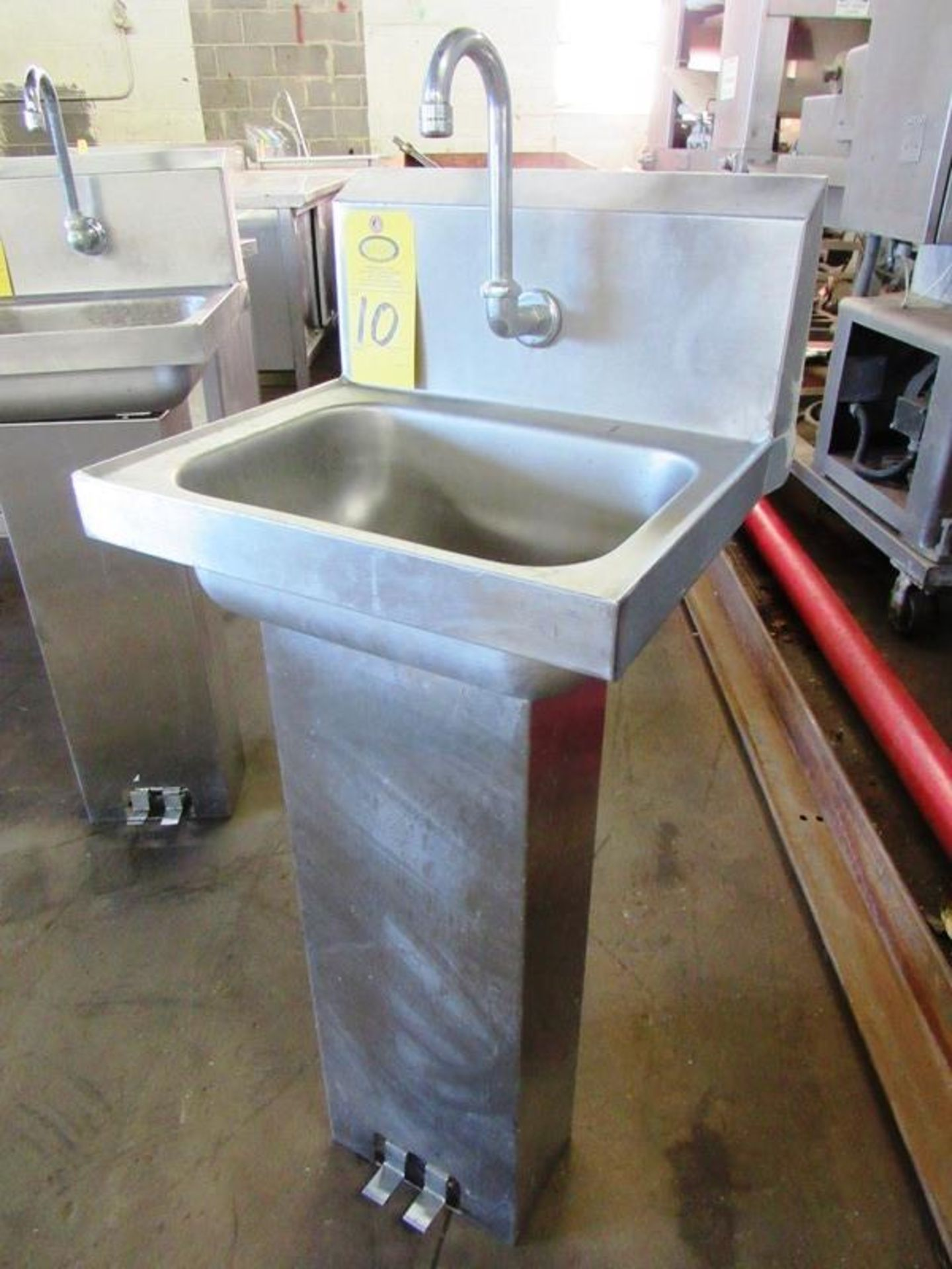 "Stainless Steel Sink, 10"" W X 14"" L single faucet, foot pedal activation"