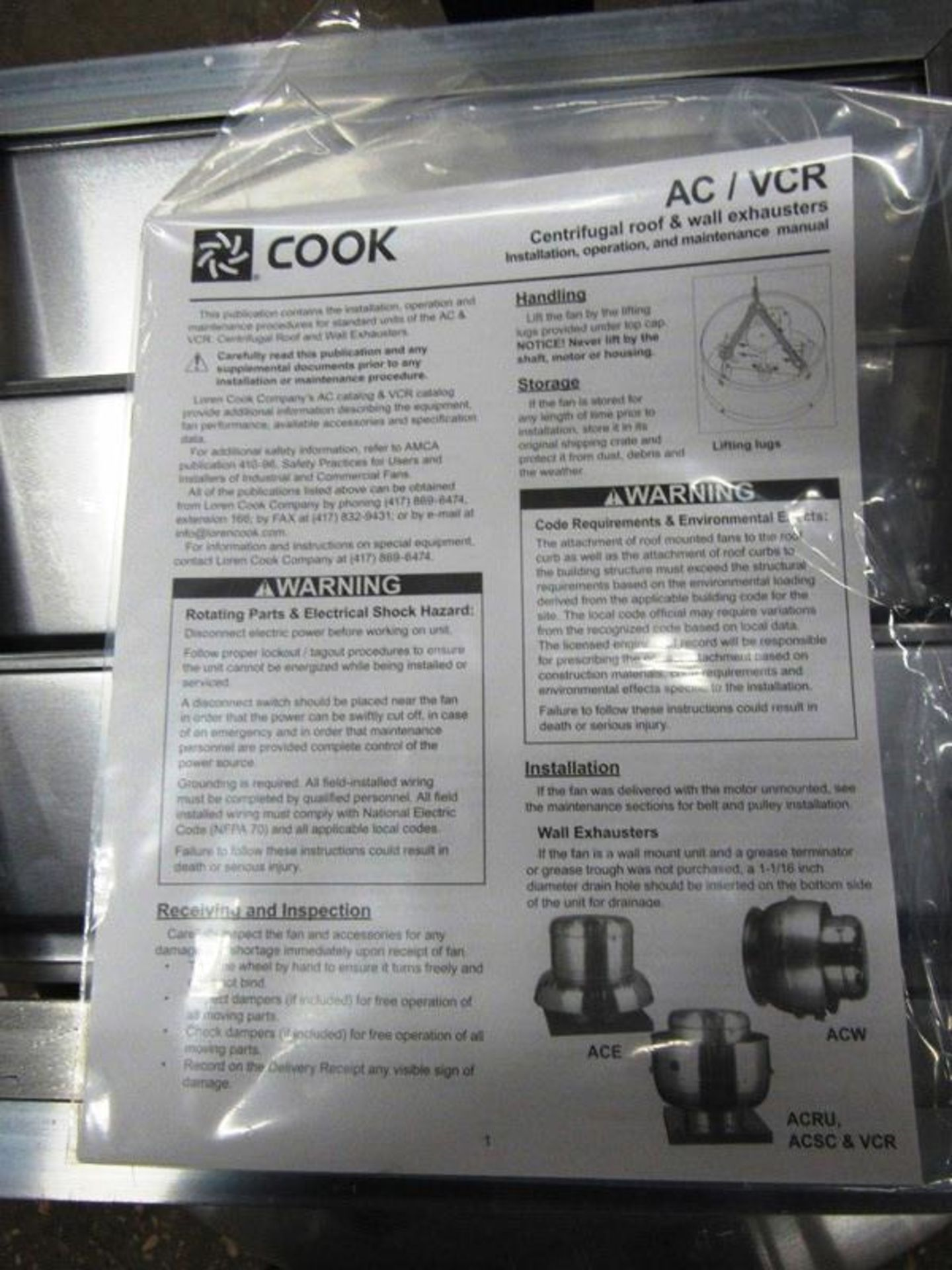 Cook Mdl. 120ACE120C13D Exhaust Fan, Ser. #012SG32092/01/0001801, H.P.0.250, 115 volts, ENCL:ODP, - Image 7 of 7