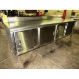 "Stainless Steel Cabinet, 30"" W X 8' L X 36"" T, (4) sliding doors, 6"" backsplash"