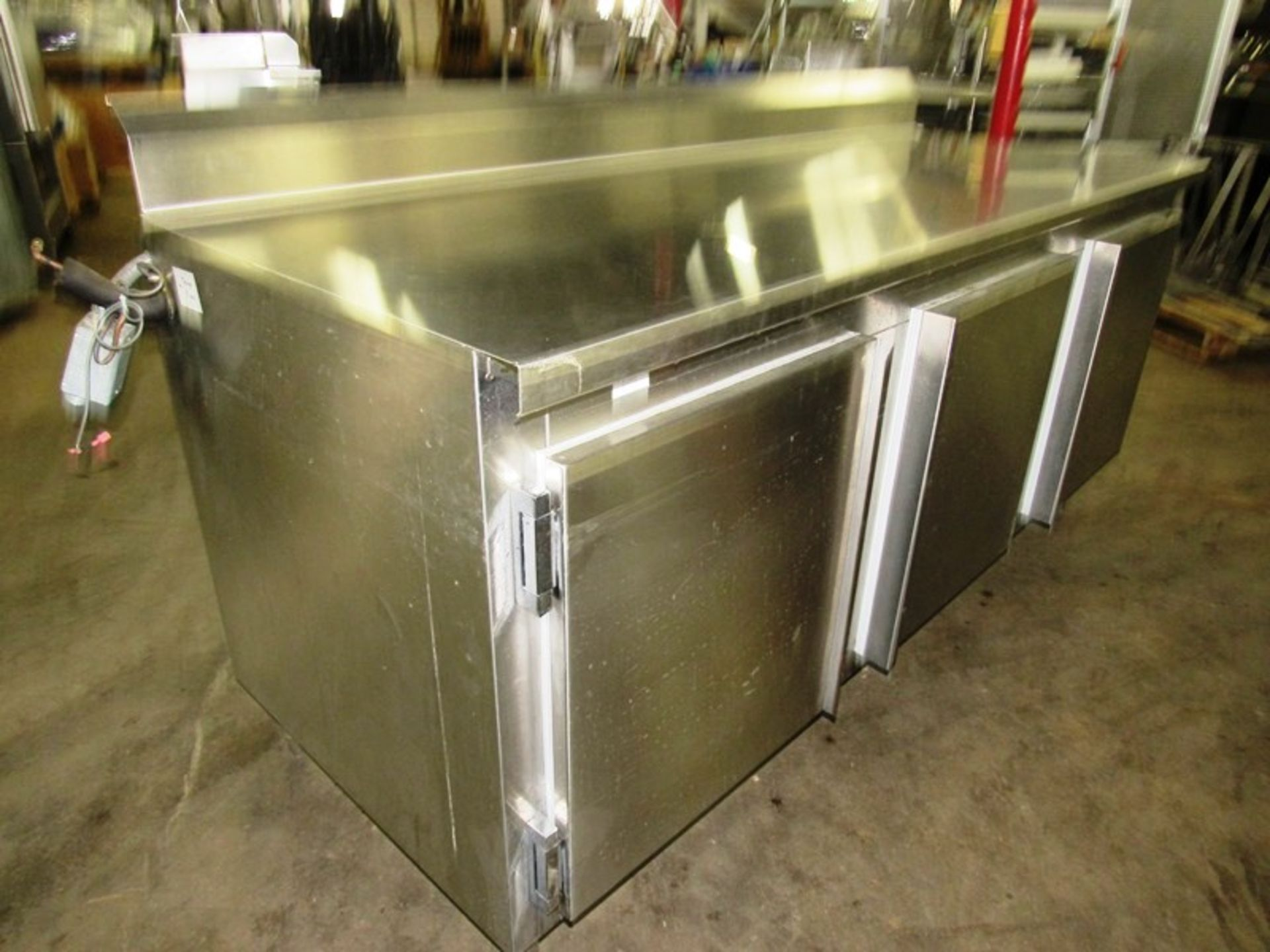 Nationwide Fabrication Mdl. 3457-50 Stainless Steel Refrigerated Prep Table, 3 doors, 7 shelves, 80""
