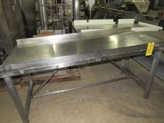 "Stainless Steel Table, 32"" W X 75"" L X 30"" T, sloped removable top 34"""