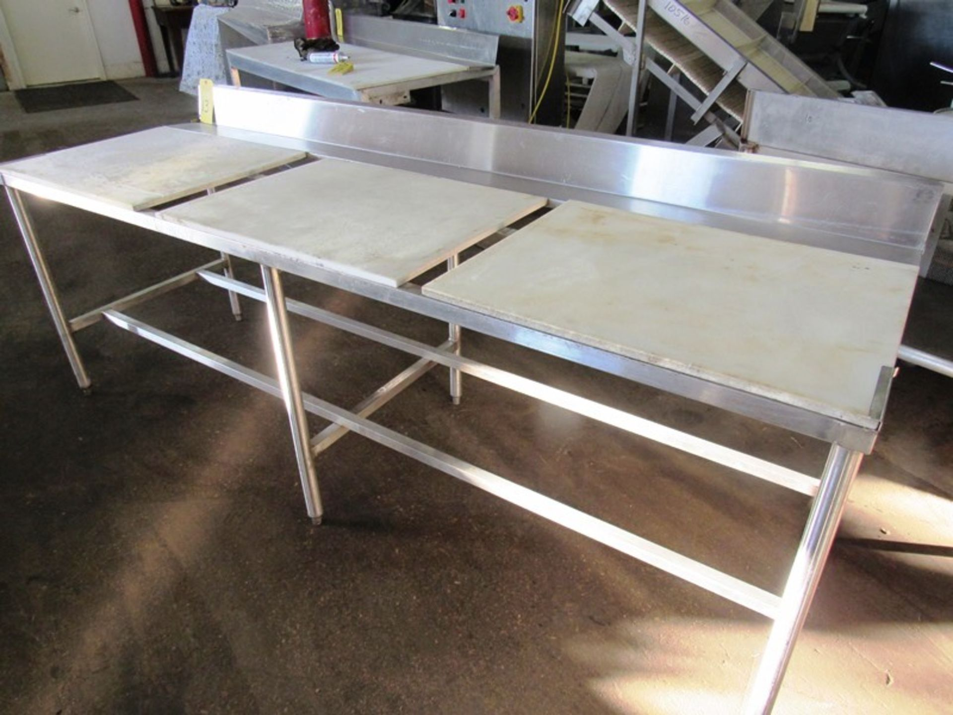 """Stainless Steel Table, 30"""" W X 8' L X 34"""" T with poly tops - Image 2 of 2"""