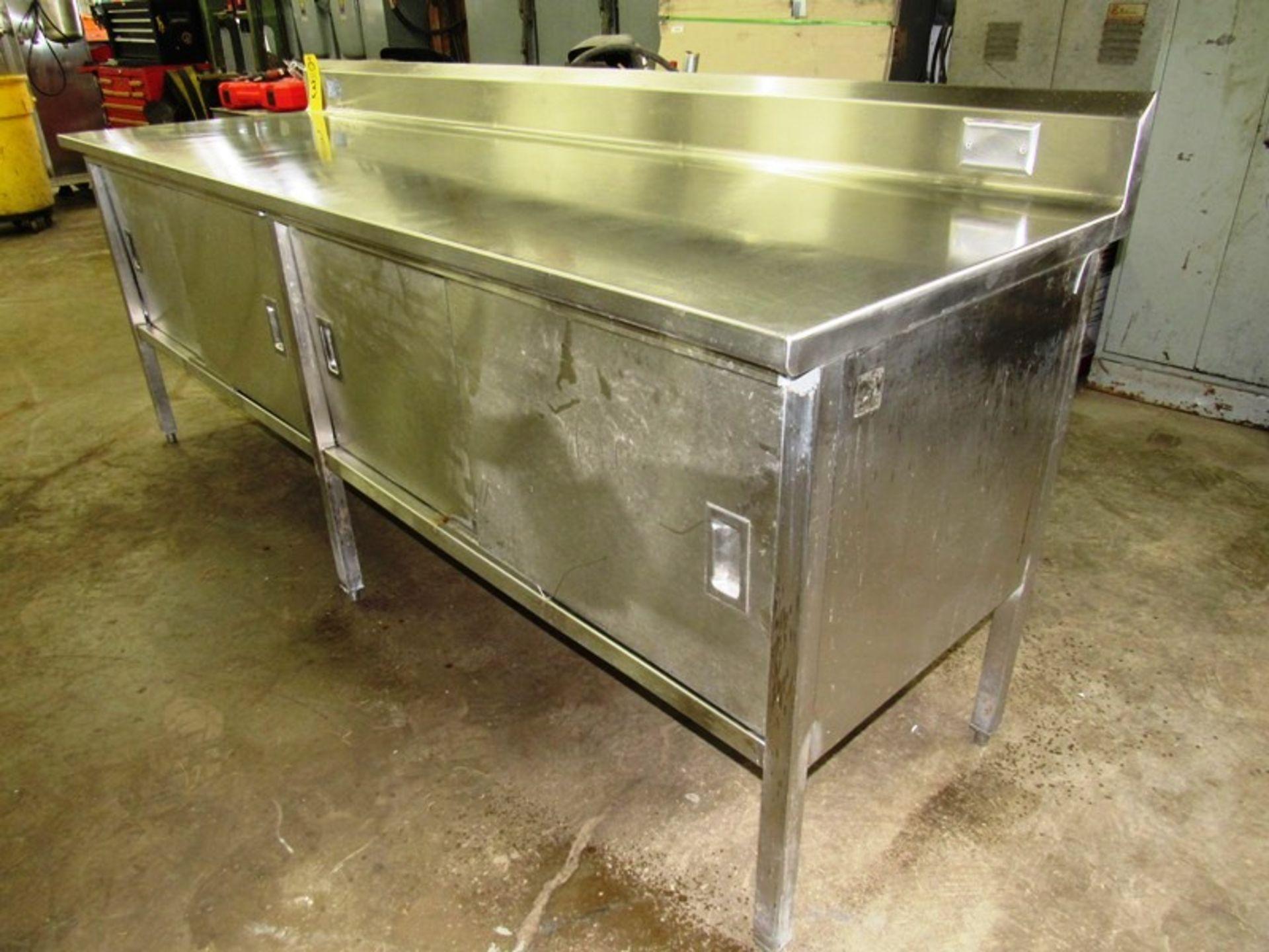 "Stainless Steel Cabinet, 30"" W X 8' L X 36"" T, (4) sliding doors, 6"" backsplash - Image 2 of 4"