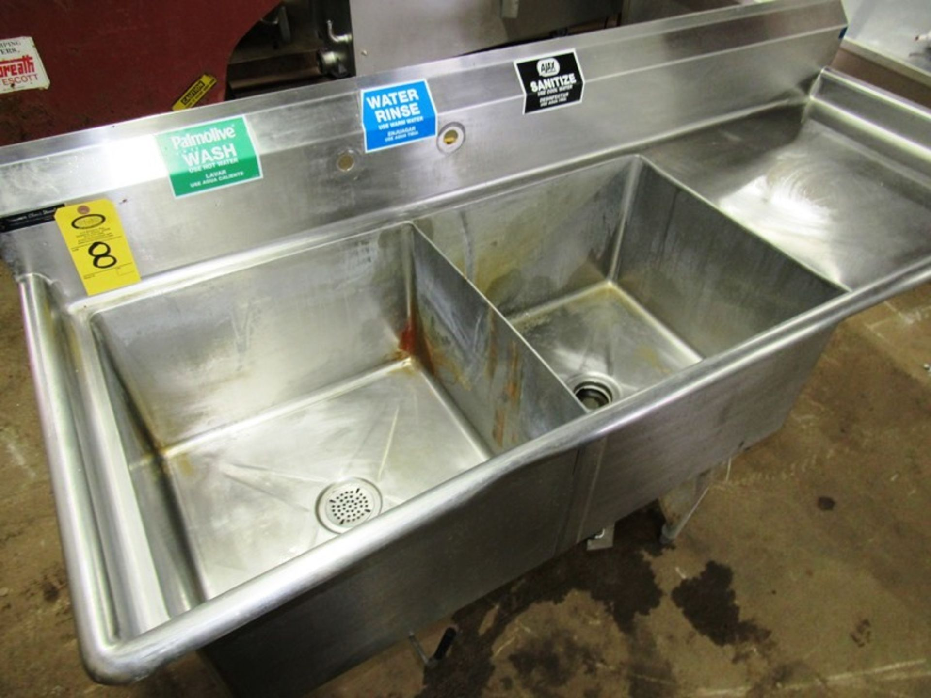 "Stainless Steel Sink, 28"" W X 6' L, (2) bays, 13"" deep, 24"" sideboard, space for faucet with sprayer - Image 2 of 4"