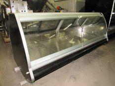 "Hussman Mdl. SMB8 Merchandizer with curved tilt up front glass & (4) rear sliding doors, 8"" long X"