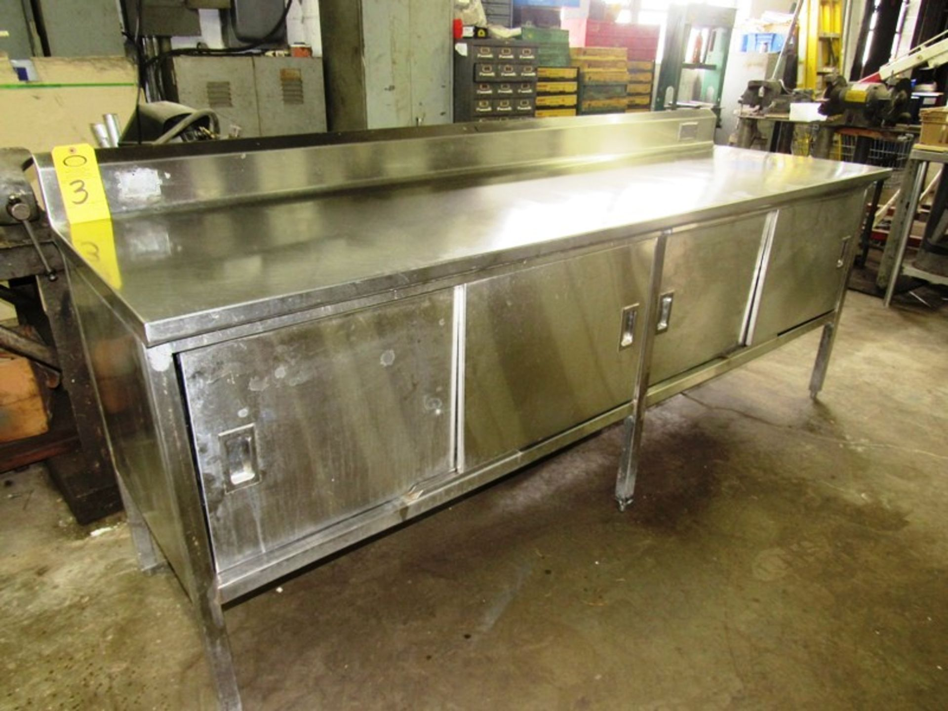 "Stainless Steel Cabinet, 30"" W X 8' L X 36"" T, (4) sliding doors, 6"" backsplash"