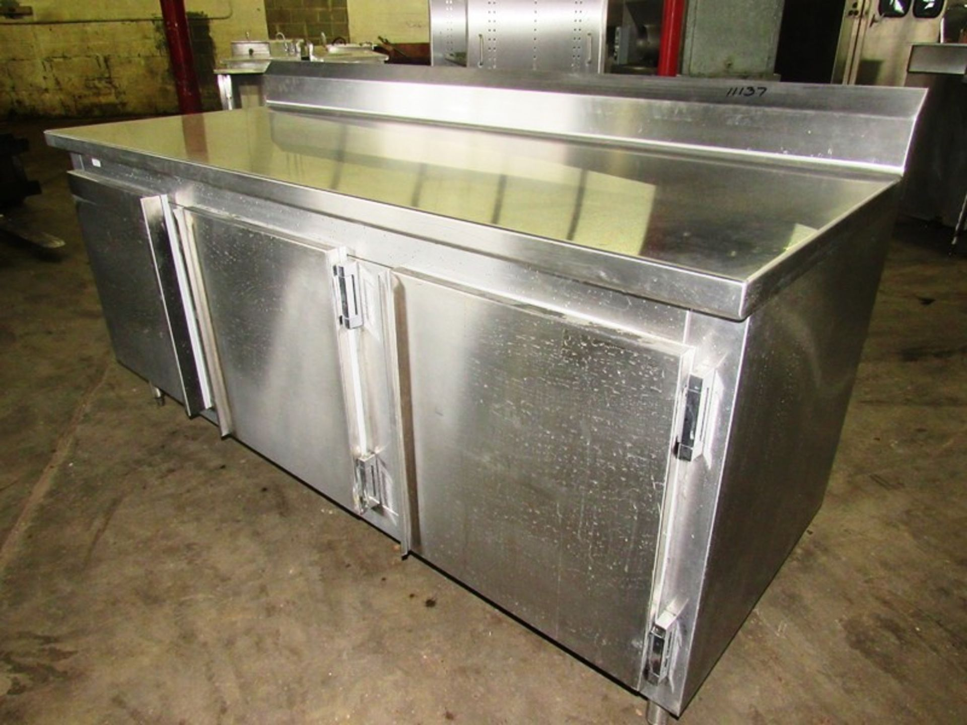 "Nationwide Fabrication Mdl. 3457-50 Stainless Steel Refrigerated Prep Table, 3 doors, 7 shelves, 80"" - Image 2 of 7"