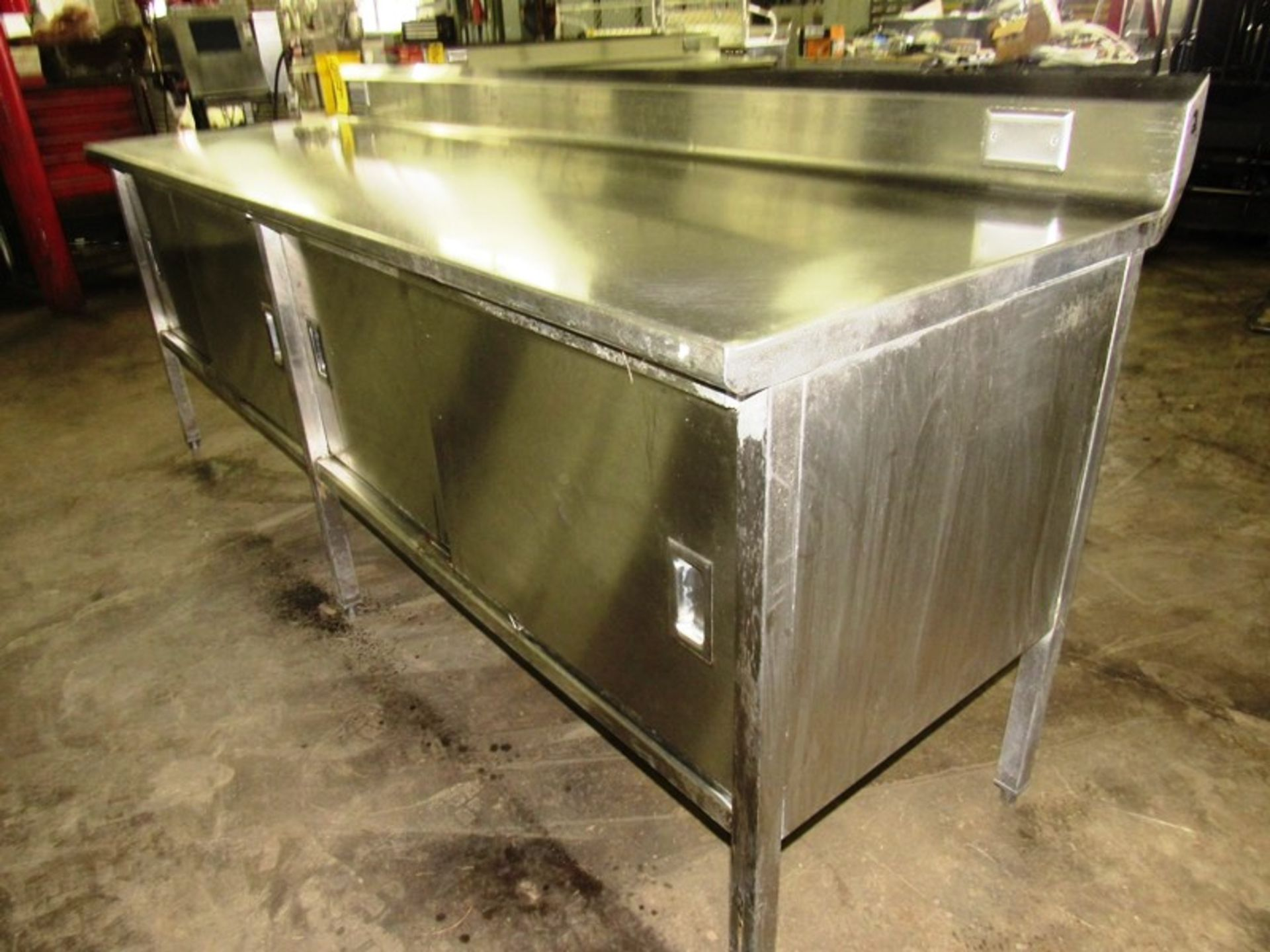 "Stainless Steel Cabinet, 30"" W X 8' L X 36"" T, (4) sliding doors, 6"" backsplash - Image 2 of 5"