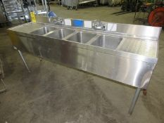 "Stainless Steel Bar Sink, 4 bays, 2 faucets, 19"" wide x 6' long x 34"" tall No Skidding Available"