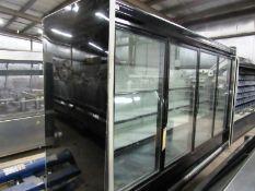 "Kysor-Warren Mdl. LV5HI-4U Display Cooler, 4 doors with inside shelves, 45"" W X 124"" L X 83"" T"