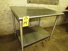 "Stainless Steel Table, 30"" W X 36"" L X 33"" T"