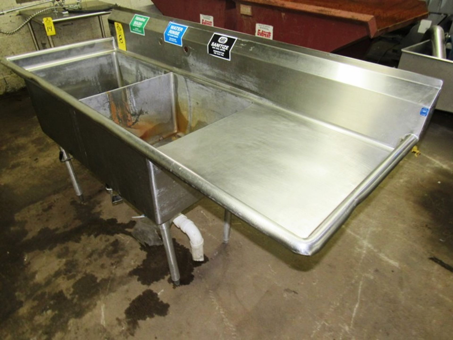 "Stainless Steel Sink, 28"" W X 6' L, (2) bays, 13"" deep, 24"" sideboard, space for faucet with sprayer - Image 3 of 4"