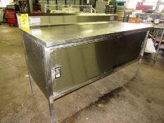 "Stainless Steel Cabinet, 30"" W X 6' L X 36"" T, (2) sliding doors, 6"" backsplash"