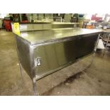 "Stainless Steel Cabinet, 30"" W X 6' L X 36"" T, (2) sliding doors, 6"" backsplash"