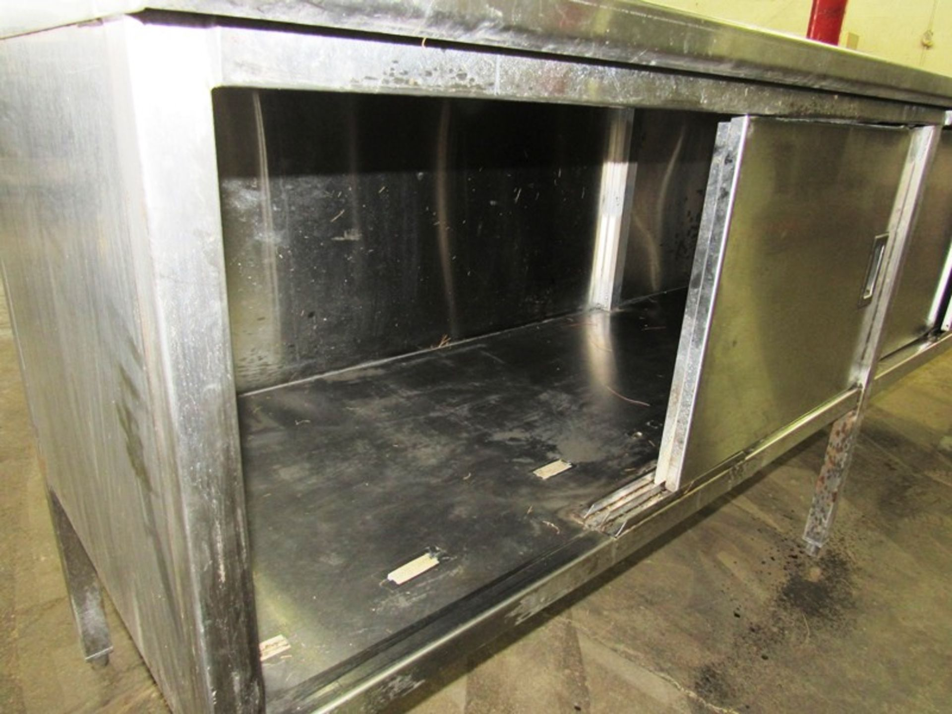 "Stainless Steel Cabinet, 30"" W X 8' L X 36"" T, (4) sliding doors, 6"" backsplash - Image 5 of 5"