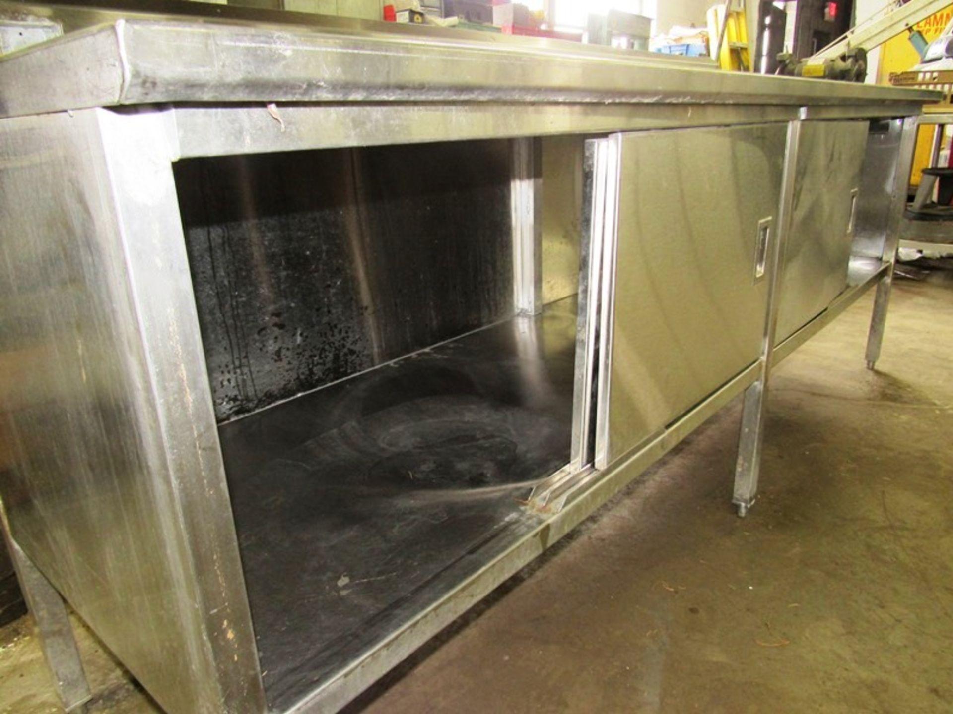 "Stainless Steel Cabinet, 30"" W X 8' L X 36"" T, (4) sliding doors, 6"" backsplash - Image 4 of 4"