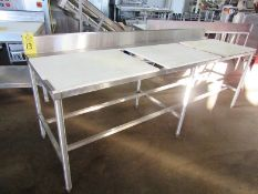 "Stainless Steel Table, 30"" W X 8' L X 34"" T with poly tops"