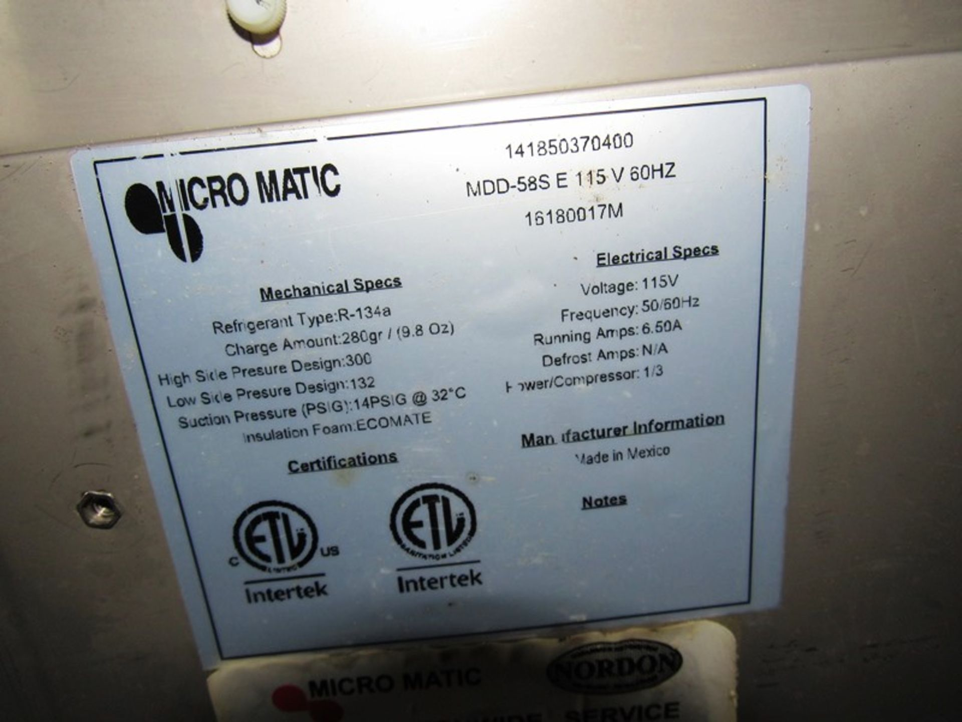 "Micromatic Mdl. MDD585-E Direct Draw Keg Refrigerator/Dispenser, (2) door, 29"" W X 5' L, stainless - Image 7 of 7"