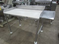 "Stainless Steel Table, 24"" W X 48"" L X 37"" T, poly top with weldment for boxes"